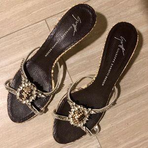 Giuseppe Zanotti Snakeskin Sandals with crystals